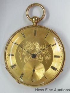 Scarce Brothers Vuille Compensated 18k Gold Fancy Large Enamel Mens Pocket Watch Antique Civil War Era Fishermans Watch