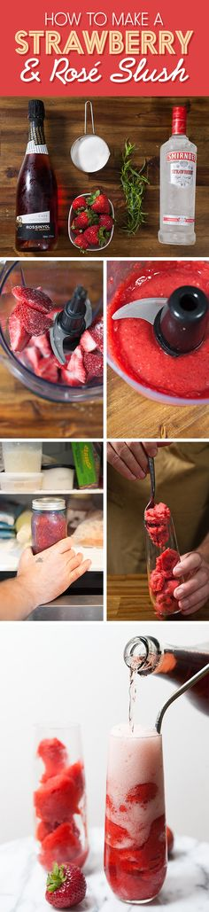 Here's a step-by-step guide to a Strawberry & Rosé Slush!!