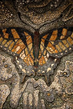 Butterfly Mosaic from the Tama zoo :: photo by Shimobros ~Inspiration for My Art~ Pebble Mosaic, Mosaic Art, Mosaic Glass, Mosaic Tiles, Stained Glass, Glass Art, Tiling, Stone Mosaic, Mosaic Crafts