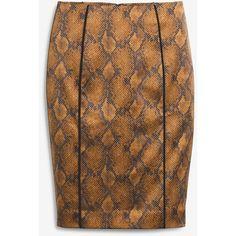 White House Black Market Snakeskin-Print Pencil Skirt ($36) ❤ liked on Polyvore featuring skirts, white house black market, snake print skirt, knee length pencil skirt, snake print pencil skirt and python skirt