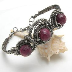 Agante  silver wire wrapped bracelet with ruby by MadeBySunflower, $240.00