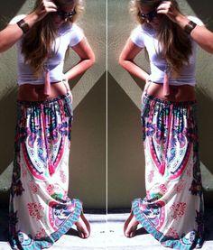 New Sexy Women Boho Chiffon Pleated Retro Long Maxi Dress Elastic Waist Skirt