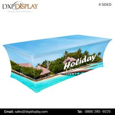 DXP Display sells all required products to display your Trade Show Booth - be it custom table throw, fitted table throw, table covers, customized printed table cover, and we deliver it all. The table throws are of light weight and are easily portable.