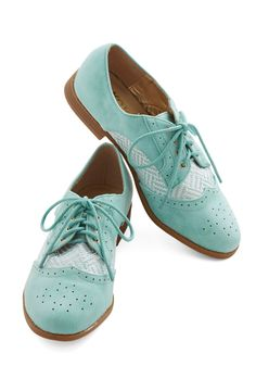 Standard of Sweetness Flat. You're often described as delightfully sweet and entirely charming, so its no surprise that these mint Oxford flats are your go-to shoes! #mint #modcloth