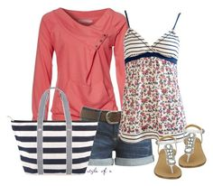 Coral and Navy for Summer by styleofe on Polyvore featuring polyvore, fashion, style, Zalando, Arden B., Nine West, Forever 21, women's clothing, women's fashion, women, female, woman, misses and juniors