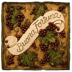 Buona Fortuna Italian and Tuscan wall decor plaque  item 181F