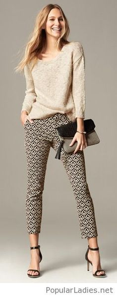 Nude blouse, printed pants and more accessories
