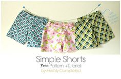 Nice pattern for kids simple shorts - with or without pockets.  And the tutorial is clear and easy to understand.