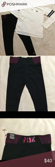 PINK Victoria's Secret Tshirt & Leggings Cream color shirt and black leggings PINK Victoria's Secret Tops Tees - Long Sleeve