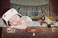 newborn hat photography prop aviator beanie by WeeBeePhotoProps, $15.00