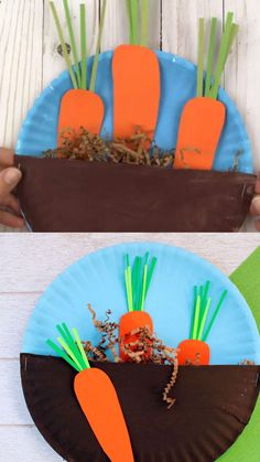 Make a paper plate garden craft for kids. Plant veggies like carrots. Great spring or letter G craft for preschoolers. #veggiegarden #paperplate #paperplatecraft #kidscraft #springcraft #carrocraft #gardencraft