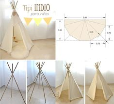 How to make a homemade teepee hideaway for your children Indian Birthday Parties, Wild One Birthday Party, Kids Tents, Teepee Kids, Teepees, Cabin Beds For Kids, Diy Teepee Tent, Diy For Kids, Crafts For Kids