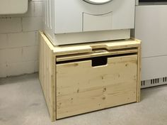 The shape of these drawers is exactly what I want in the laundry room Washer And Dryer Pedestal, Laundry Room Pedestal, Laundry In Bathroom, Drying Rack Laundry, Laundry Storage, Interior Design Living Room, Living Room Designs, Landry Room, Laundry Closet