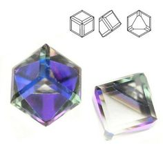 Swarovski 4841 Cube 6 mm Crystal Heliotrope (price for 1 piece) 1 Piece, Cube, Swarovski, Crystals, Colour, Ebay, Garden, Color, Garten