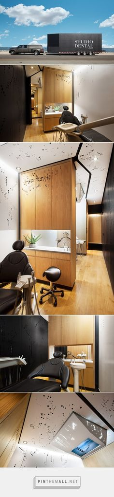 A mobile dental clinic converted from a trailer by Montalba Architects. To maximize sound absorption, the team installed acoustic foam inside the walls and ceiling. To increase natural light without unseemly potential parking lot views, the architects created skylights above patient areas. Maximizing function and beauty in a small space, they used a cut out design in the walls and ceilings. The patient-centered clinic created an iPad paperless virtual sign in & out. As seen in @dezeen
