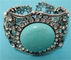 Diamante and Turquoise Cuff Bangle.  $15.00  www.thecrystalcave.vpweb.com.au