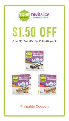 Who doesn't love a discount on their favorite ZonePerfect® Revitalize Nutrition Bars? This $1.50 off printable coupon on your choice of a ZonePerfect® Multi-pack allows you to stock up on snacks that help keep you going throughout the day. From back-to-school and meal planning to after-school activities and work, these delicious treats are your partner in checking off that to-do list!