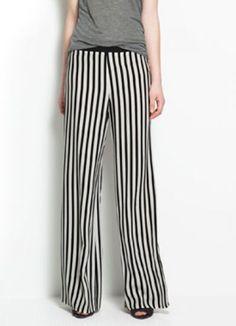Black White Vertical Stripe Loose Casual Pant