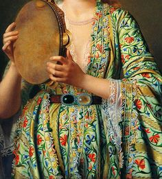 Traveling through history of Art...Portrait of a Lady of the Court Playing the Tambourine, detail, by Pierre Désiré Guillemet, 1870-1875.