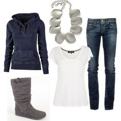 Casual & comfy fall outfit.. Can't wait to be able to wear sweaters :)