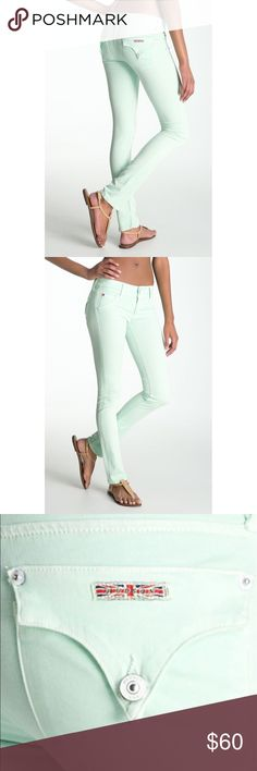 Hudson Jeans Mint Skinny Stretch Jeans Gorgeous & soft Hudson Jeans in a beautiful mint color! Curve hugging skinny jeans fashioned from stretchy, colored denim cast a sleek silhouette, while signature triangle flap pockets finish the look. Made in the USA. Faux front pockets. 98.5% cotton, 1.5% Lycra. Excellent condition. Offers welcome! Hudson Jeans Jeans Skinny