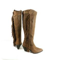 """Carlos Santana Lever Cognac Tall Fringe Boots Thanks for viewing my listing. I take all my own pics. The boots are authentic and new in box. The boots have man made upper with suede fringe. Boots have 1.5"""" heel, 16"""" shaft, and 16"""" calf opening. Carlos Santana Shoes"""