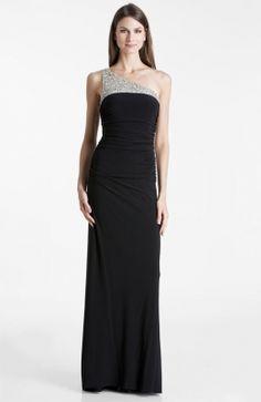 Black Long Beaded One Shoulder Dress