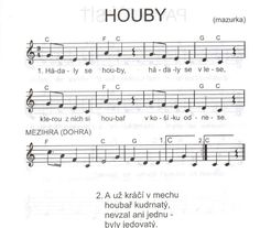 HOUBY | BÁSNIČKY A PÍSNIČKY Z PLAVECKÉ ŠKOLIČKY Music For Kids, Kids Songs, Kids And Parenting, Sheet Music, Teaching, Education, School, Nursery Songs, Music Score