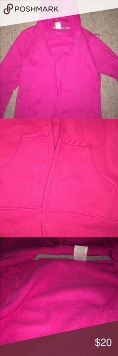 PINK ZIP UP HOODED SWEATER PINK HOODED SWEATER / ZIP UP / INSIDE MADE OF FLEECE / TWO POCKETS / R LOGO ON LEFT SLEEVE / HARDLY WORN / SIZE MEDIUM Russell Athletic Tops Sweatshirts & Hoodies
