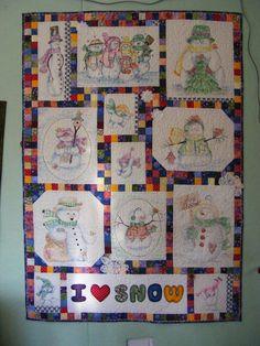 Crayon Crayola Snowman quilt by debcavan on Quilting Board (lady has many talents)