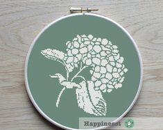 cross stitch pattern hydrangea, modern cross stitch, flower, PDF pattern ** instant download**