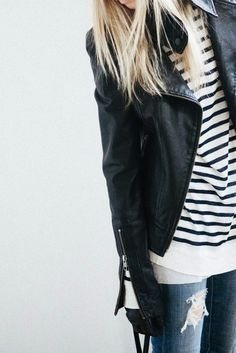 leather jacket, stripes , denim