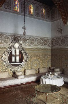 Pattern rich Moroccan living room with sculpted ceilings.  #Moroccan #Living #Room.