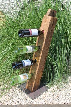 Decorative objects wine rack old oak beams Riesling e … – Wine World Empty Wine Bottles, Bottle Candles, Wine Bottle Art, Barn Board Crafts, Wine Furniture, Wine House, Reclaimed Wood Projects, Make Design, Decorative Objects