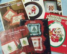 Cross Stitch Pattern Father Christmas Tree Santa Claus Season Greetings  Lot #Frame