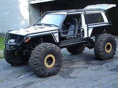 Awesome black and white Jeep Cherokee XJ Exo Beast! This will take you places you have never been before!