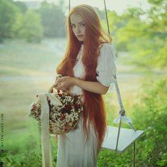 very very long red hair..beautiful