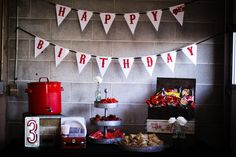 Vintage Fire Station Birthday | Jenny Cookies #desserttableforboys #red