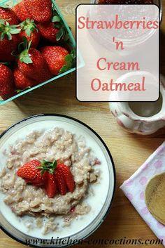 Strawberries 'n Cream Oatmeal #recipe #breakfast #oatmeal
