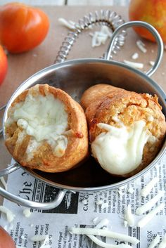 Pizza Popovers by She's Becoming DoughMessTic Popover Pan, Popover Recipe, Recipes Appetizers And Snacks, Pizza Recipes, Desserts, Yorkshire Pudding Recipes, Donuts, Dinner Dishes, Side Dishes