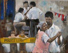 """Street Dance by Andie Freeman Oil ~ 16"""" x 19"""""""