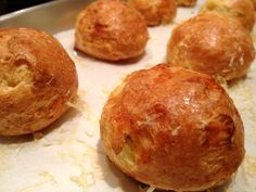 French Gougeres (Gruyere Cheese Puffs)   http://www.aflockinthecity.com/2012/05/14/lots-of-eggs-on-my-hands-so-i-made-french-gougeres-gruyere-cheese-puffs/