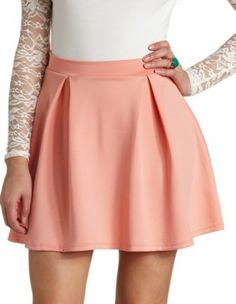 box-pleated high-waisted skater skirt