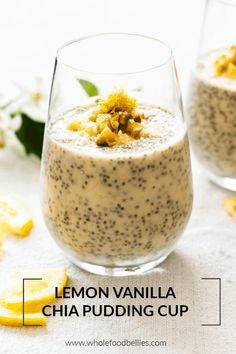 Zesty Lemon and Vanilla Chia Pudding Cups Fresh and zesty, this lemon and vanilla chia pudding is a quick and easy grab-n-go breakfast option which can be prepped ahead of time. It's also great as an afternoon snack or a light and healthy dessert. Coconut Chia Seed Pudding, Chocolate Chia Seed Pudding, Vanilla Chia Pudding, Chai Pudding, Chocolate Chips, Good Healthy Recipes, Healthy Desserts, Healthy Food, Dessert Recipes
