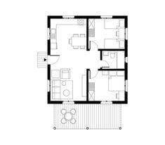 Prefab House 57 sqm, Floor Plan - www.pzarch.gr