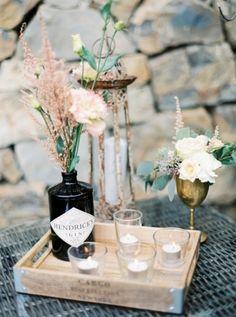 gin bottles as vases available from @theweddingomd peachesandmint.com
