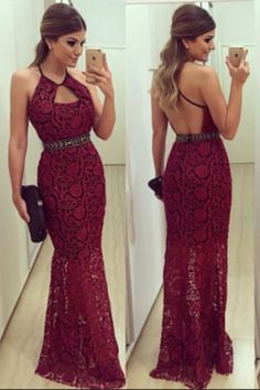 New Prom Gowns,Charming Evening Dress, Sexy Halter Sheath Lace Backless Long Dark Red Prom Dresses,Evening Party Dresses