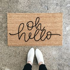 """This """"oh hello"""" doormat is the perfect way to have an inviting entry way to your home! Each welcome mat is hand painted and hand lettered. hello welcome mat Home Decor Accessories, Decorative Accessories, Casa Loft, Diy Décoration, Welcome Mats, First Home, House Warming, Sweet Home, New Homes"""