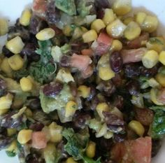 Yummy black bean salad  2 cans of blackbeans 2 cans of corn 1/2 of a jalapeno (optional) chopped 2 roma tomatoes diced 1/2 onion chopped A handful of chopped cilantro 1-2 avocados chopped in cubes 1-2 drops of doterra essential oil Open cans of black beans and rinse Drain corn. Combine all the above ingredients. Add 1-2 lime essential oil and a pinch of salt to taste. Give it a quick stir and enjoy.