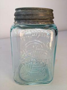 SMALLEY FULL MEASURE AGS (monogram) PINT - square pint, aqua Fruit Jar